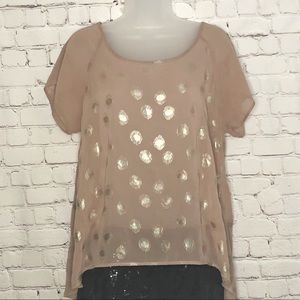 Bobeau short sleeve top see through gold dots smal